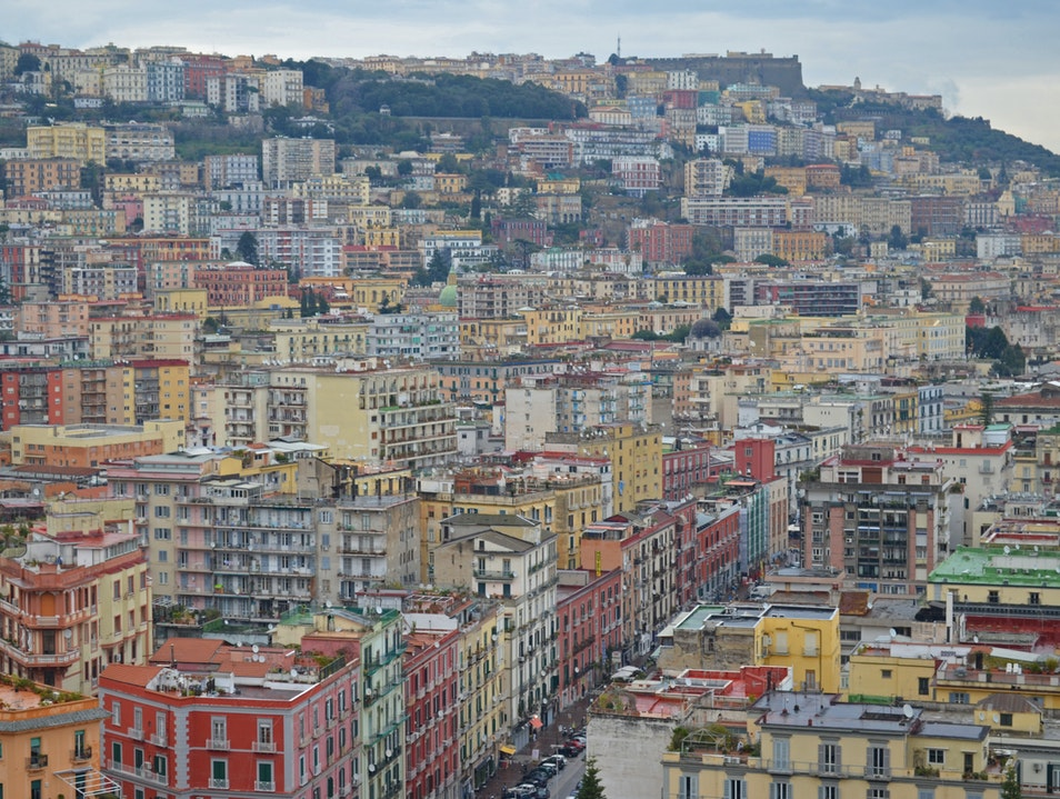 Overlooking Naples Italy on a Cloudy Morning Naples  Italy