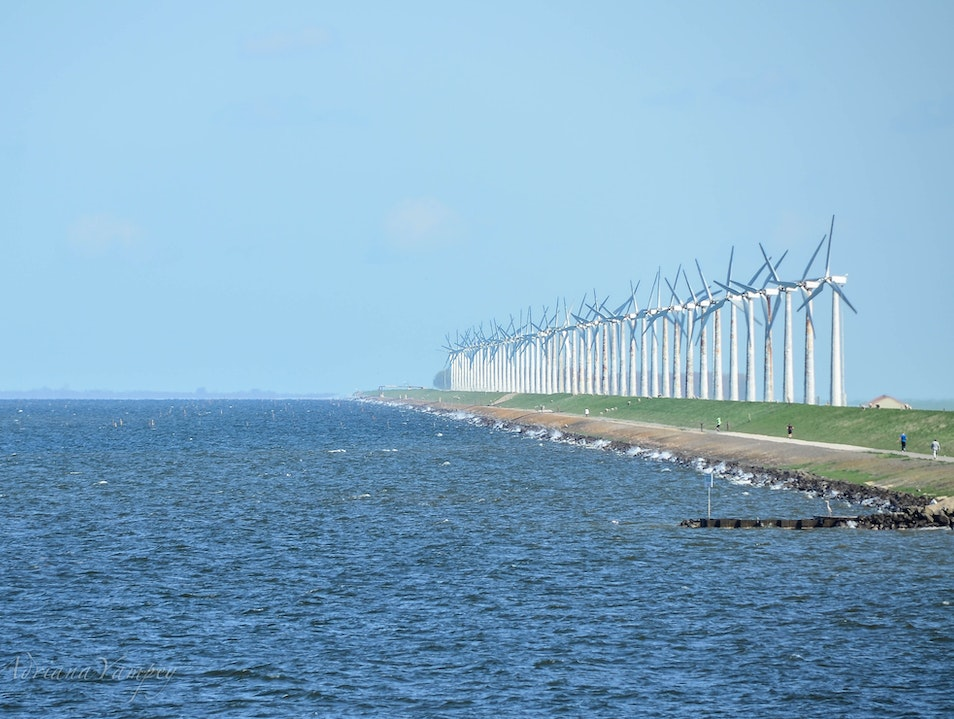 Walk along the windmills  Urk  The Netherlands