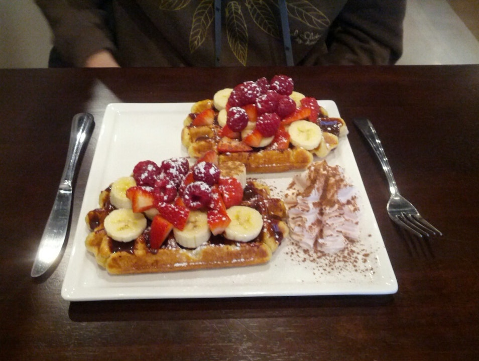 Delicious Waffle Breakfast in Coal Harbour Vancouver  Canada