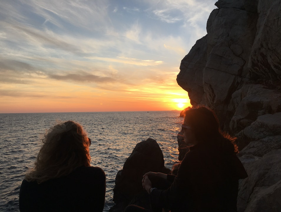 Sunset on the cliffs at Buza Bar Dubrovnik  Croatia