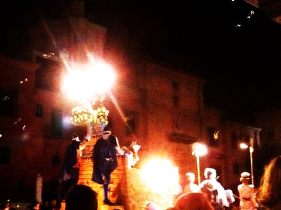 Procession and Parade on Calle Acera del Darro Granada  Spain