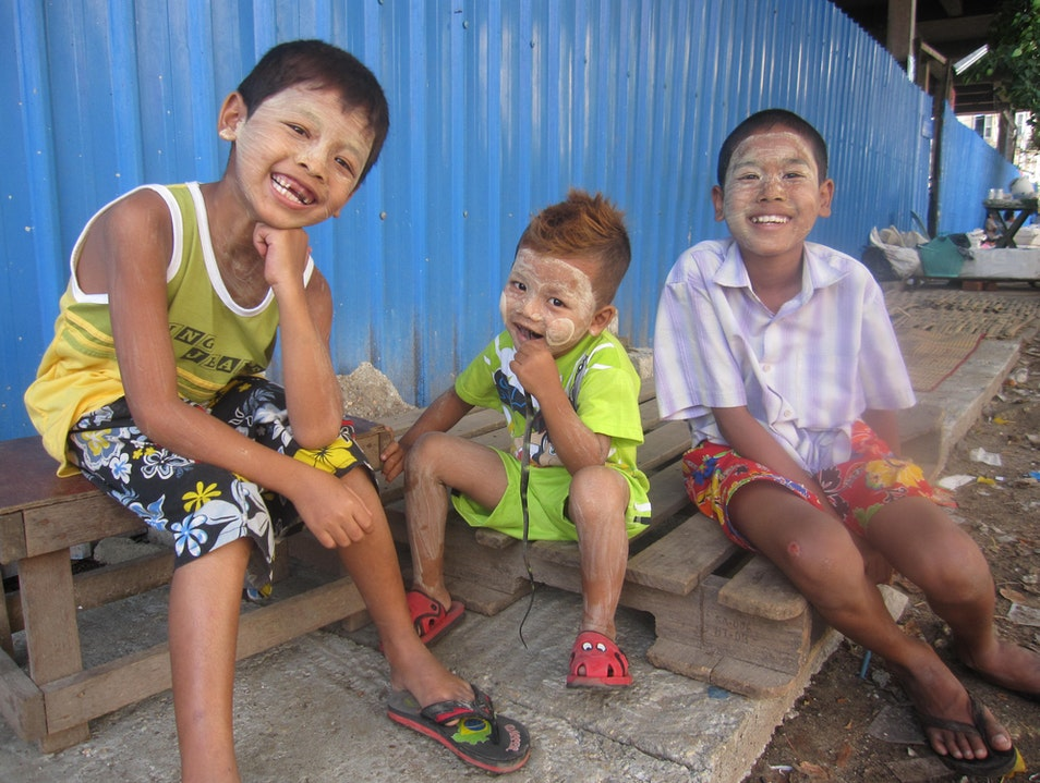 Street kids Rangoon  Myanmar