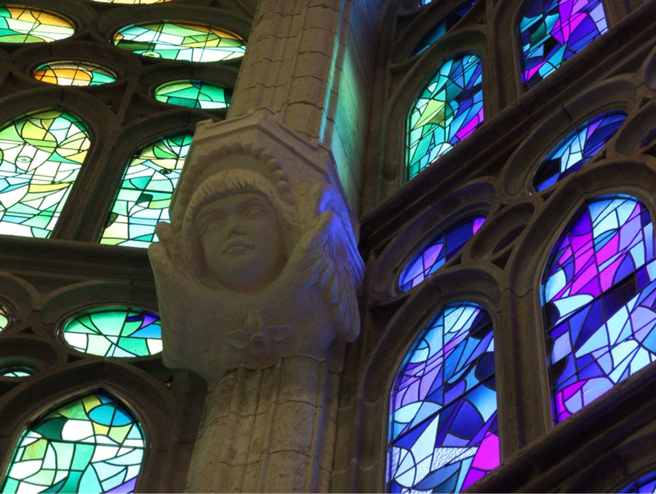Most beautiful stained glass Barcelona  Spain