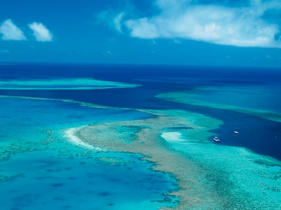 Fly Over the Great Barrier Reef Queensland  Australia