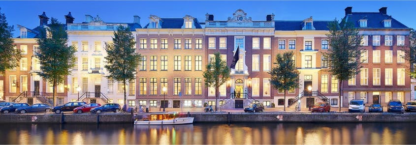 The Waldorf Astoria Amsterdam sits on one of the city's main canals.