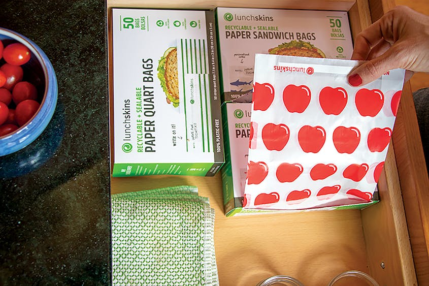 LunchSkins recyclable paper sandwich bags come in a range of fun patterns.