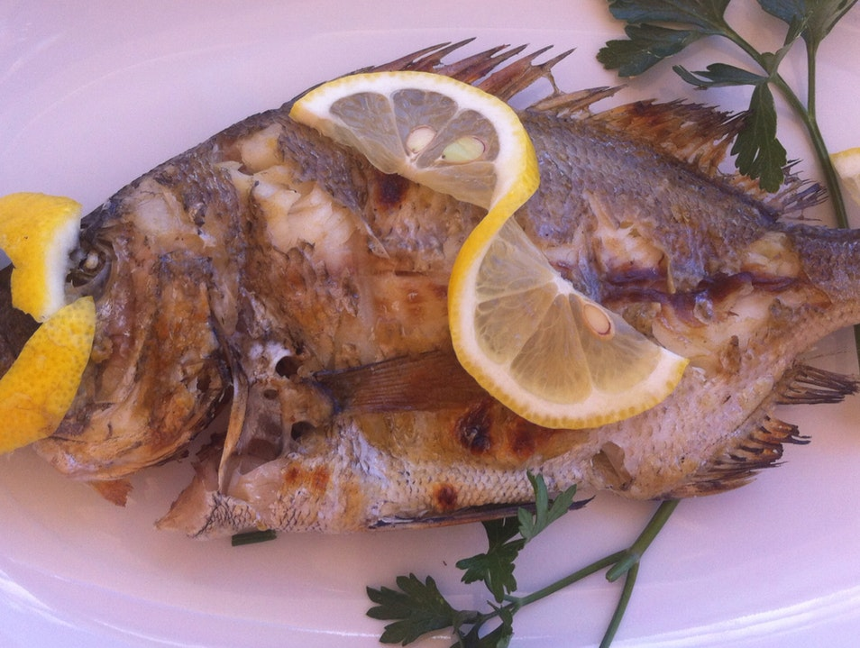 whole grilled fish at pasithea Agkali  Greece