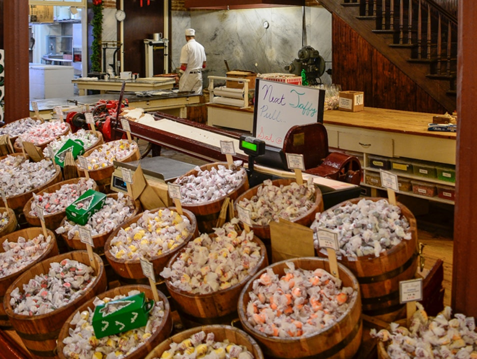 Watch the taffy being made Galveston Texas United States