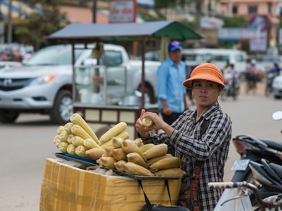 Roaming street food vendor Siem Reap  Cambodia