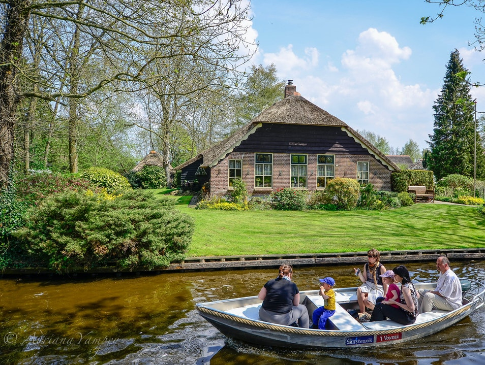 With the boat down the canals Giethoorn  The Netherlands