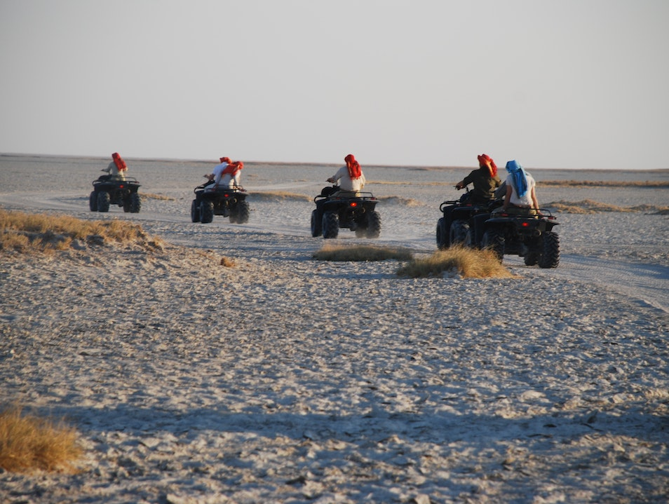 Exploring the Makgadikgadi salt pans by quad bike Tutume  Botswana