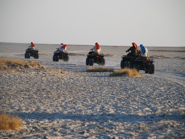 Exploring the Makgadikgadi salt pans by quad bike