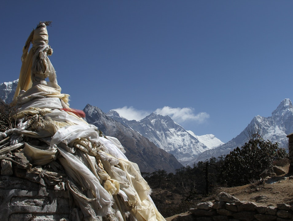 Prayer Flags and Peaks Khumjung  Nepal