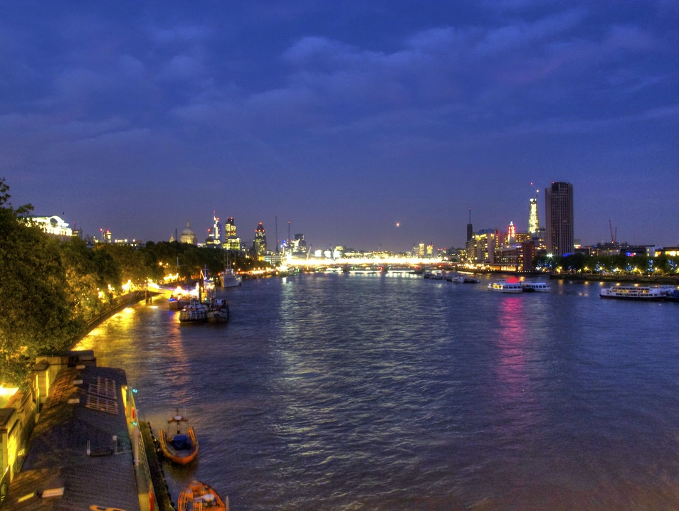 River Thames at night - London London  United Kingdom