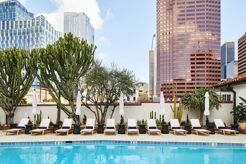 Hotel Figueroa offers places to relax or get social, with events like a monthly all-female comedy show.