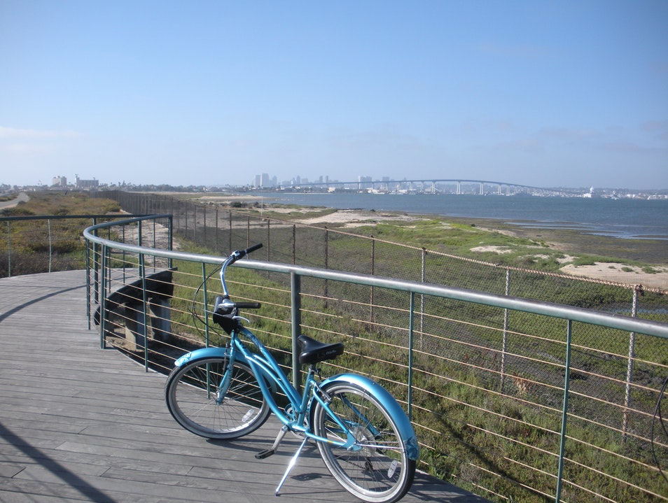 Great views of San Diego while bicycling the Silver Strand Coronado California United States