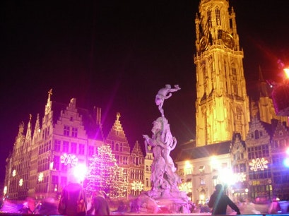 Square at Christmas Antwerp  Belgium