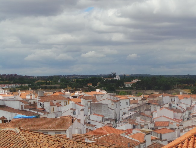 The rooftops in Évora Portugal