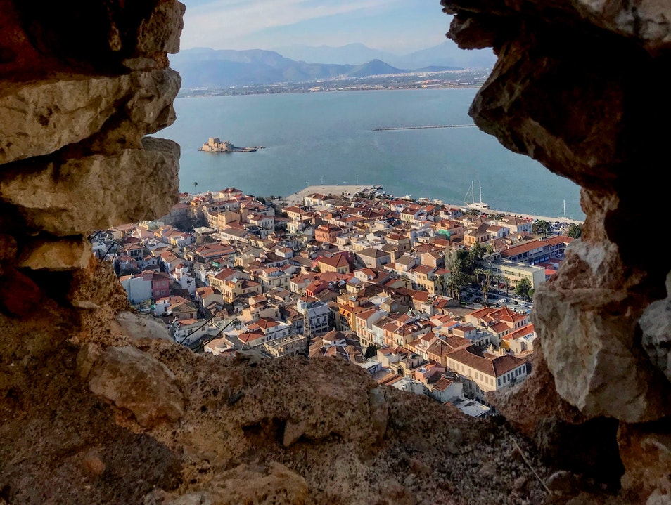 Climbing to the top of the fortress of Palamidi Nafplio  Greece
