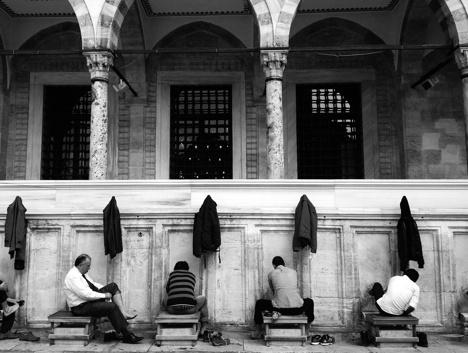 A Quiet Moment Among Worshipers Istanbul  Turkey